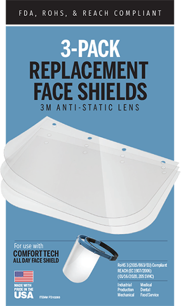 3-Pack Replacement Face Shields
